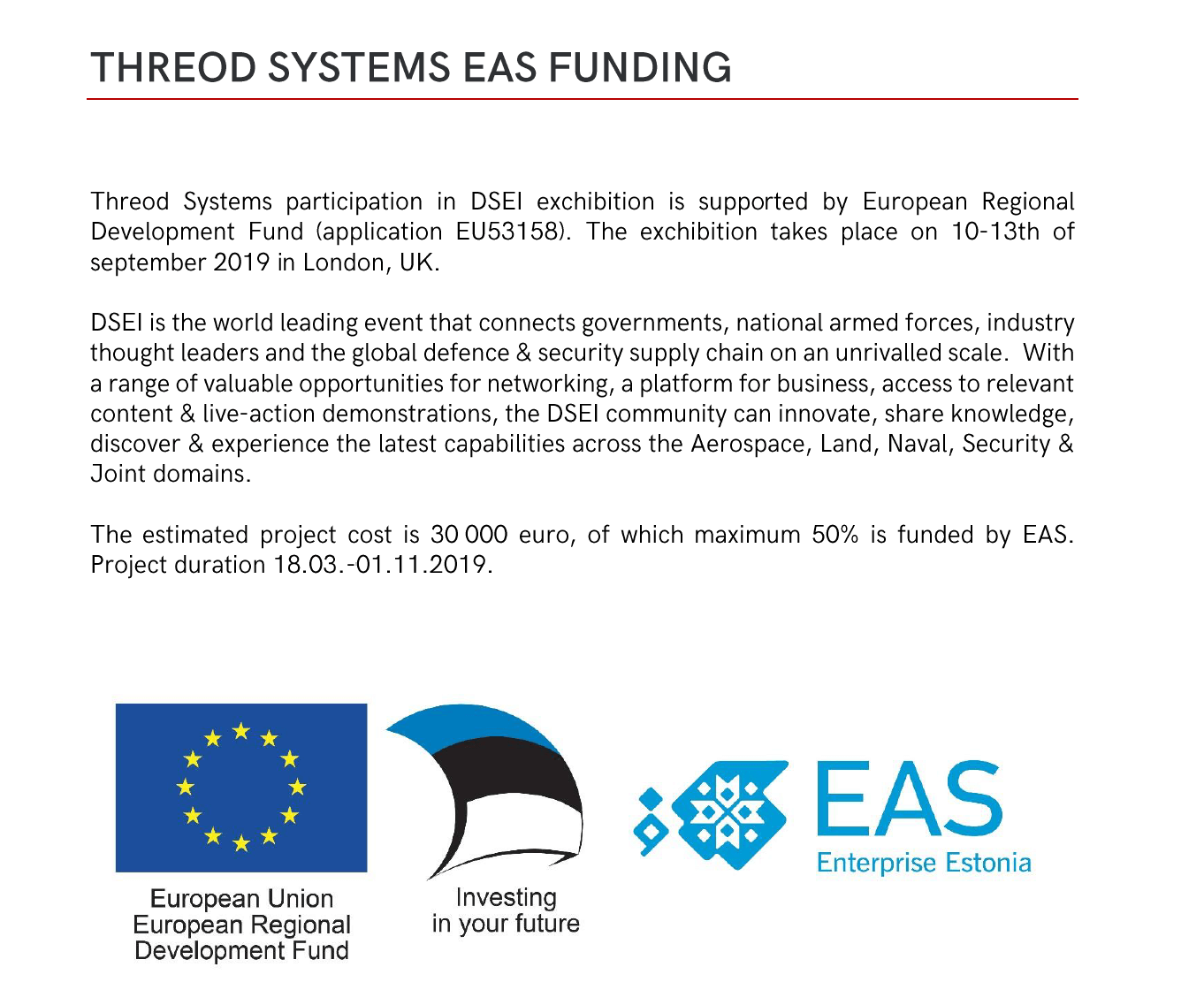 Threod Systems EAS funding