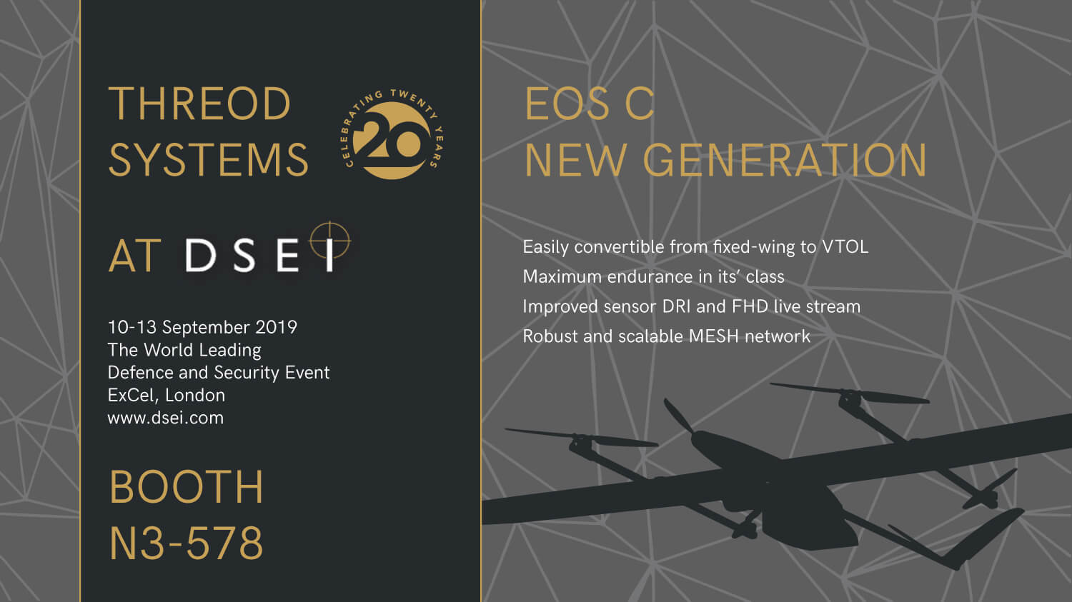Eos C VTOL fixed-wing UAV at DSEI 2019